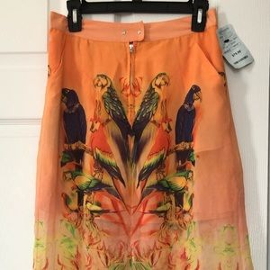 Long patterned skirt with middle slit, NWT